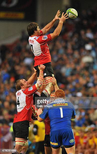 Warwick Tecklenburg of the Lions wins the line out during the Super Rugby match between DHL Stormers and Emirates Lions at DHL Newlands Stadium on...