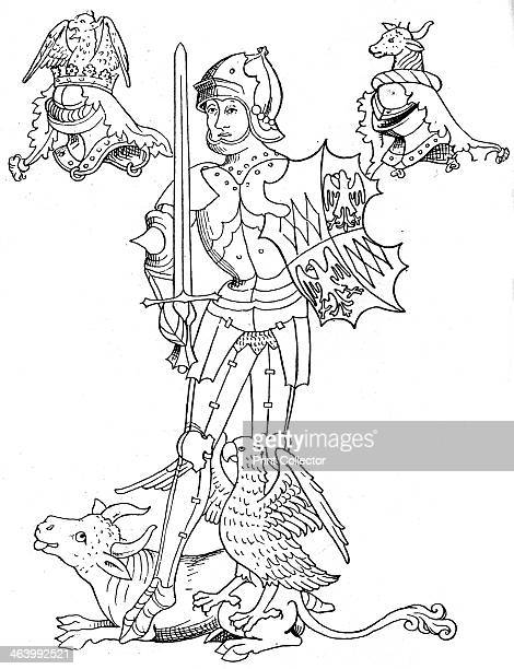 Warwick the King aker, 15th century English nobleman and soldier, . Warwick in armour holding a shield and sword. He was killed at the Battle of...