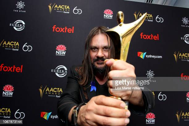 Warwick Thornton poses in the media room with the AACTA Award for Best Cinematography for Sweet Country during the 2018 AACTA Awards Presented by...