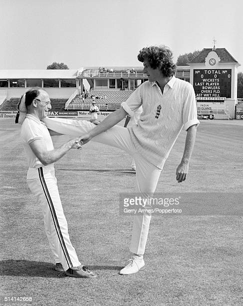 Warwickshire and England fast bowler Bob Willis limbers up with physio Bernard Thomas prior to the 1st Test match at Edgbaston in Birmingham 12th...