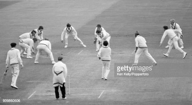 Warwickshire batsman David Brown sees off a delivery from Northamptonshire bowler Mushtaq Mohammad during the County Championship match between...