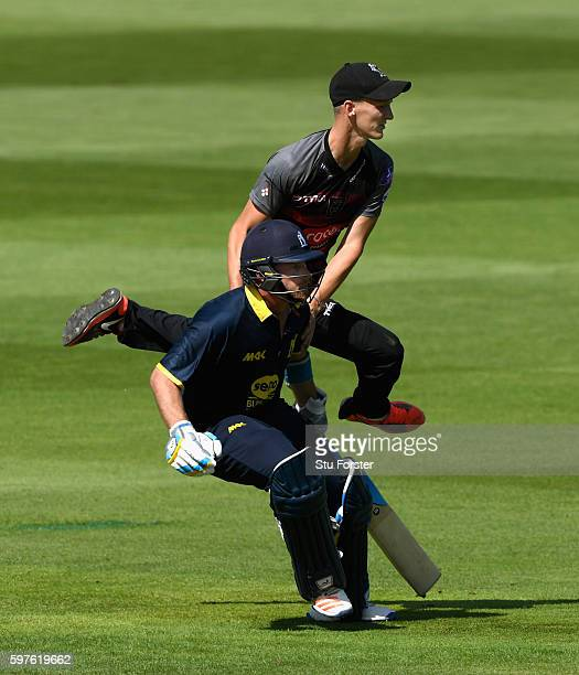 Warwickshire batsman Ian Bell collides with Somerset fielder Max Waller during the Royal London OneDay Cup semi final between Warwickshire and...