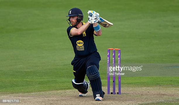 Warwickshire batsman Ian Bell hits a ball to the boundary during the Royal London OneDay Cup semi final between Warwickshire and Somerset at...