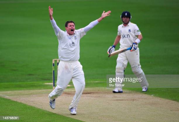Warwickshire batsman Ian Bell survives a confident appeal from Durham bowler Mitchell Claydon during day two of the LV County Championship division...
