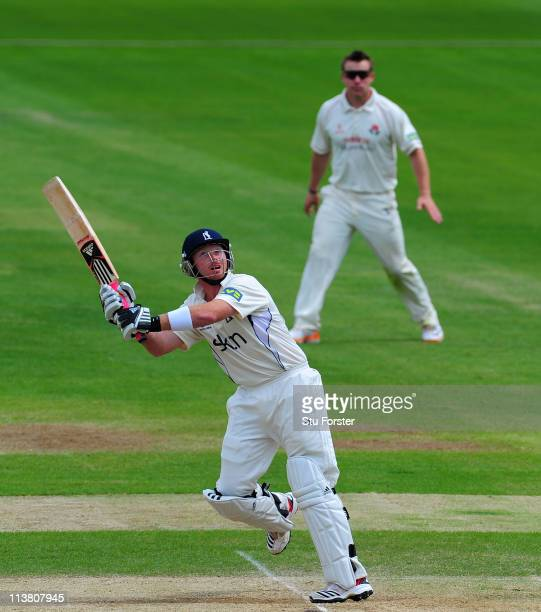 Warwickshire batsman Ian Bell top edges a shot and is caught in the deep for only 3 runs during day three of the Division One LV County Championship...