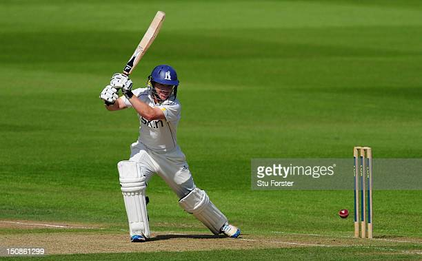 Warwickshire batsman Ian Westwood picks up some runs during day one of the LV County Championship Division One game between Warwickshire and...