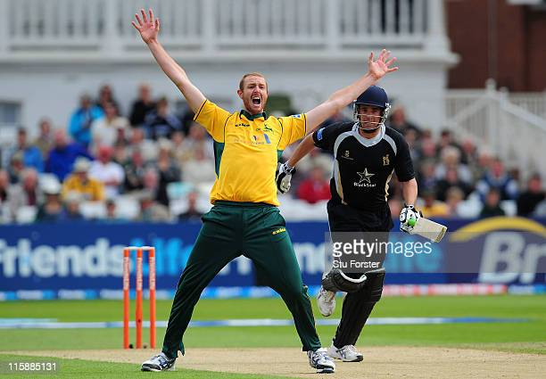 Warwickshire batsman Neil Carter survives an appeal from Notts bowler Andy Carter during the Friends Life T20 match between Nottinghamshire and...