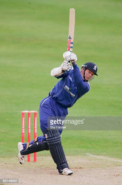 Warwickshire batsman Nick Knight hits out during The Twenty 20 game between Glamorgan and Warwickshire at St Helens on June 25 2005 in Swansea Wales