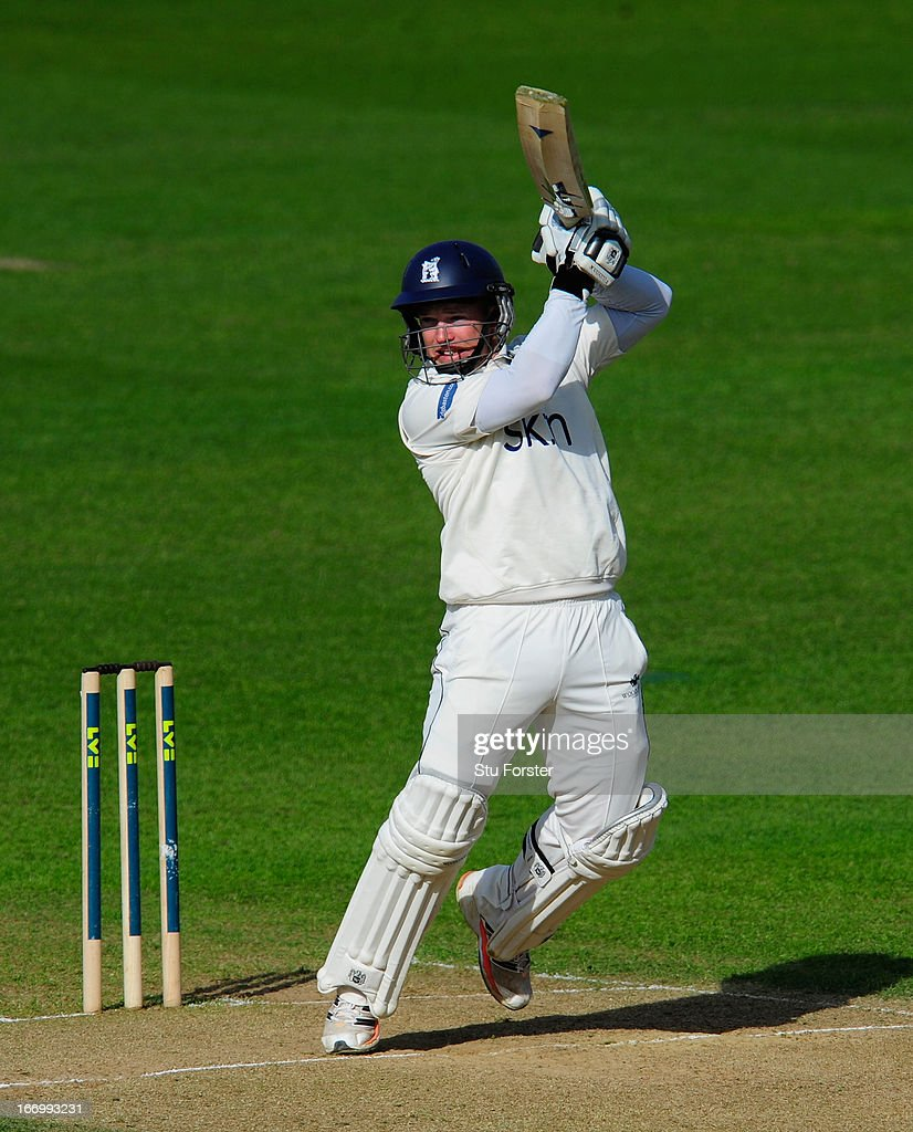 Warwickshire batsman Tim Ambrose cuts a ball to the boundary during his century during day three of the LV County Championship Division One game between Warwickshire and Durham at Edgbaston on April 19, 2013 in Birmingham, England.