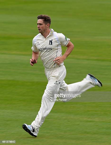 Warwickshire bowler Chris Woakes runs in to bowl during day three of the LV County Championship Division One match between Warwickshire and Somerset...