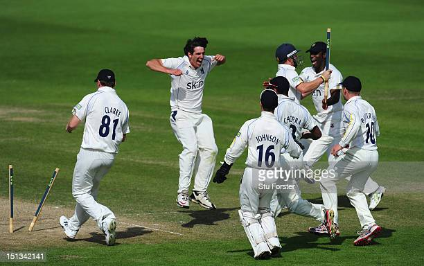 Warwickshire bowler Chris Wright celebrates after bowling Worcestershire batsman Alan Richardson to finnish off the innings and win the Championship...
