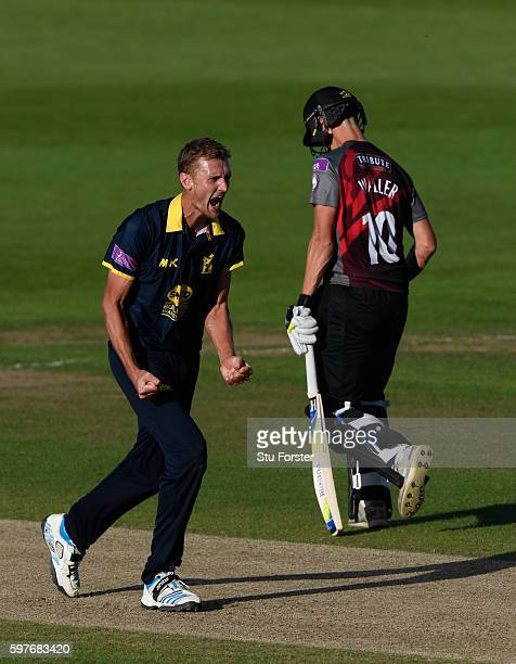 Warwickshire bowler Oliver HannonDalby celebrates victory as Somerset fail to score the required runs in the last over bowled by HannonDalby during...