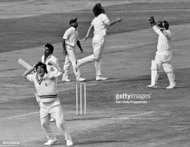 Warwickshire bowler Steve Rouse celebrates after having Farokh Engineer of Lancashire caught behind for 0 by Bob Willis during the Gillette Cup Semi...