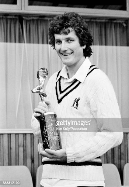 Warwickshire captain Bob Willis stands with the John Player League Trophy at Edgbaston Birmingham 21st November 1980