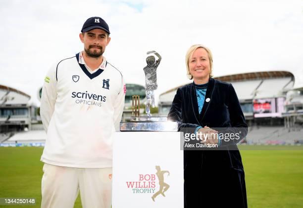 Warwickshire captain Will Rhodes and Bob Willis' wife Lauren Clark pose with the Bob Willis Trophy during Day 4 of the Bob Willis Trophy Final...