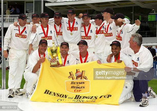 Warwickshire celebrate winning the Benson and Hedges Cup Final between Essex and Warwickshire at Lord's Cricket Ground London 22nd June 2002 The...