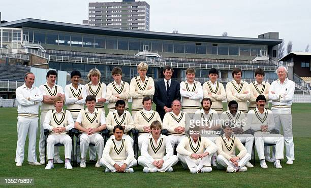 Warwickshire County Cricket Club at Edgbaston in Birmingham circa April 1984 Back row left to right Neal Abberley Chris Lethbridge Asif Din Paul...