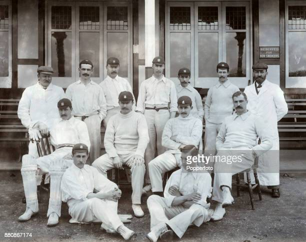 Warwickshire County Cricket team circa 1898 Left to right back row A Hide Jack Devey Henry Pallett Sydney Santall James Whitehead Walter Quaife and...