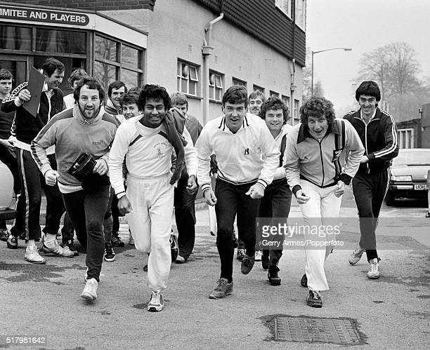 Warwickshire cricketers return for preseason training at Edgbaston in Birmingham 31st March 1981 The four in front are Geoff Humpage Alvin...