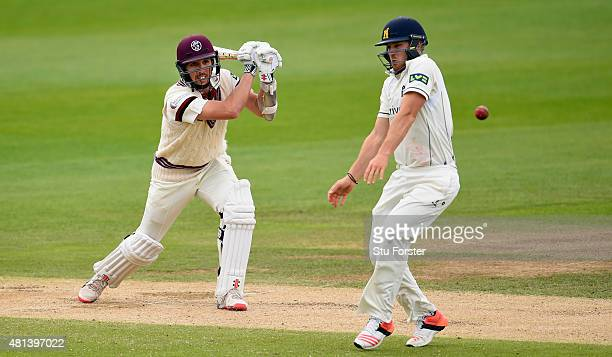 Warwickshire fielder Laurie Evans evades a shot from the bat of Somerset batsman Tom Cooper during day three of the LV County Championship Division...