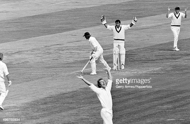 Warwickshire opening batsman Dennis Amiss is dismissed bowled by Bob Ratcliffe for 31 during the Gillette Cup semifinal against Lancashire at...
