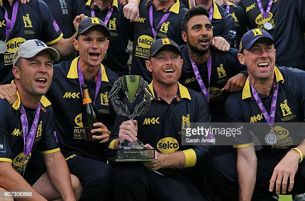 Warwickshire players celebrate winning the Royal London OneDay Cup Final after beating Surrey at Lord's Cricket Ground on September 17 2016 in London...