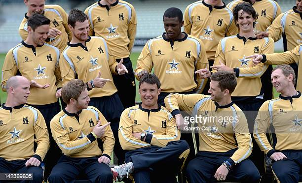 Warwickshire players point to Neil Carter who is entering his testimonial year during Warwickshire CCC photocall at Edgbaston on April 3 2012 in...