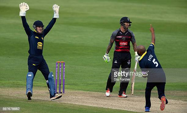 Warwickshire substitute wicketkeeper Alex Mellor and bowler Jeetan Patel celebrate after Patel had taken the wicket of Somerset batsman Peter Trego...