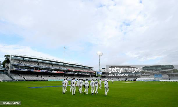 Warwickshire take to the field during Day 4 of the Bob Willis Trophy Final between Warwickshire and Lancashire at Lord's Cricket Ground on October...
