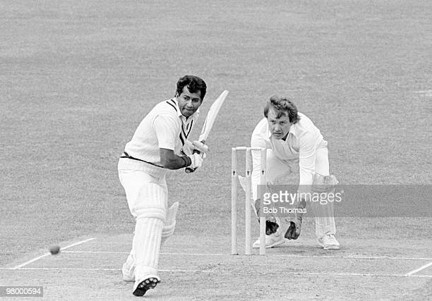 Warwickshire's Alvin Kallicharran prepares to play a shot watched by Sussex wicketkeeper Ian Gould during the John Player League cricket match held...