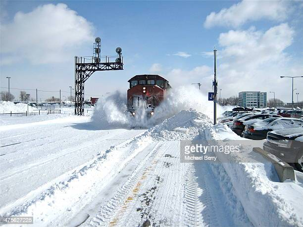 Was at the VIA Dorval Station on a crisp and clear Sunday morning the day after a massive snowstorm. Evidently a train had not passed on this track...