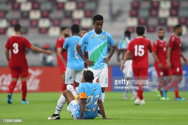 Was Daoud and Radwan Aouad of Djibouti look dejected at the end of the FIFA Arab Cup 2021 Qualifying match between Lebanon and Djibouti at Khalifa...