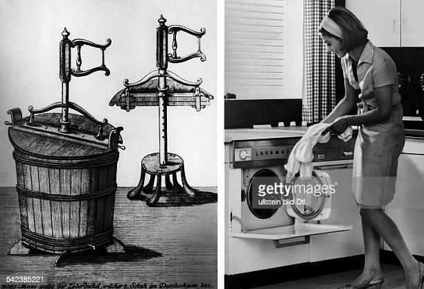 'Waschmaschine' aus dem 18 Jh betrieben mit Muskelkraft und eine vollautomatische Maschine mitEinKnopfAutomatik aus dem Jahre1967