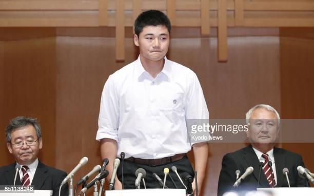 Waseda Jitsugyo high school slugging first baseman Kotaro Kiyomiya attends a press conference in Tokyo on Sept 22 2017 Kiyomiya said he will pursue a...