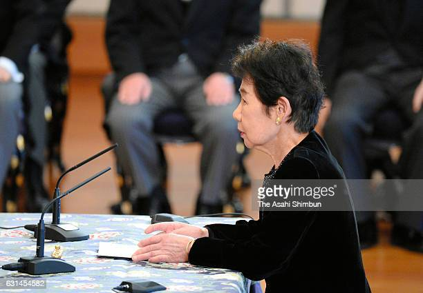 Waseda University professor emeritus Kazuko Mori attends the 'KoshoHajimenoGi' or first lecture of the year at the Imperial Palace on January 11 2017...