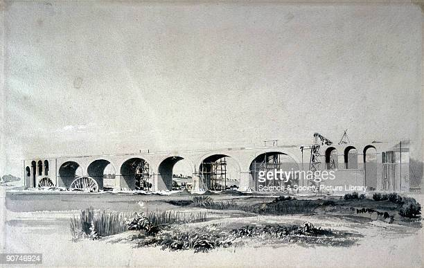 Wash drawing by John Cooke Bourne from a collection of views on the construction of the London Birmingham Railway Wolverton viaduct was 660 foot long...