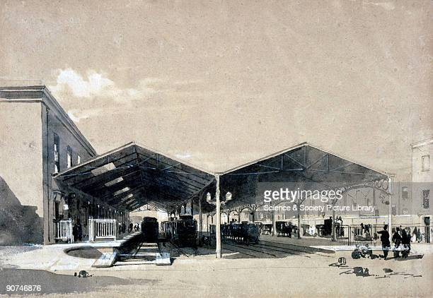 Wash drawing by John Cooke Bourne showing a view of the departure and arrival platforms at Euston station Bourne began making drawings of the...