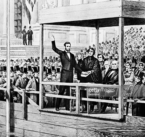 Wash drawing of Abraham Lincoln's first Presidential inauguration Mar 4 1861 Lincoln waves to an audience of men wearing top hats Undated illustration