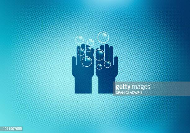 wash hands icon on screen - covid icons stock pictures, royalty-free photos & images