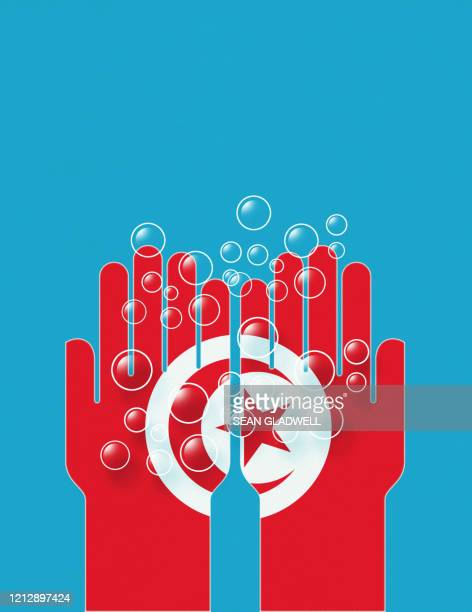wash hands with soap bubbles and tunisia flag - drapeau tunisien photos et images de collection