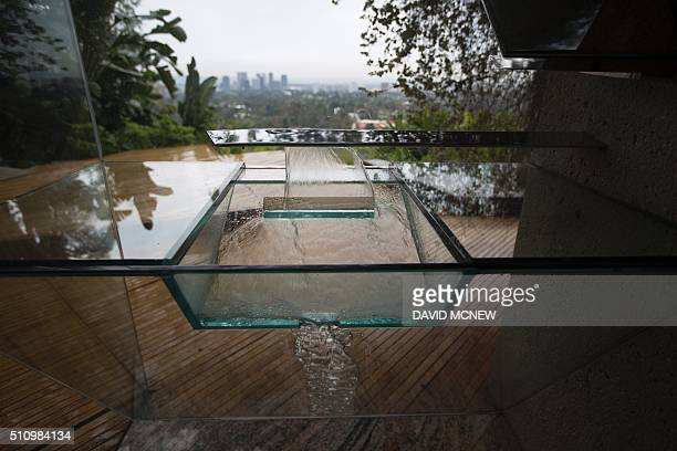 A washbasin that drains to recycled use is seen in the master bedroom during a tour of the John Lautnerdesigned home being donated to the Los Angeles...