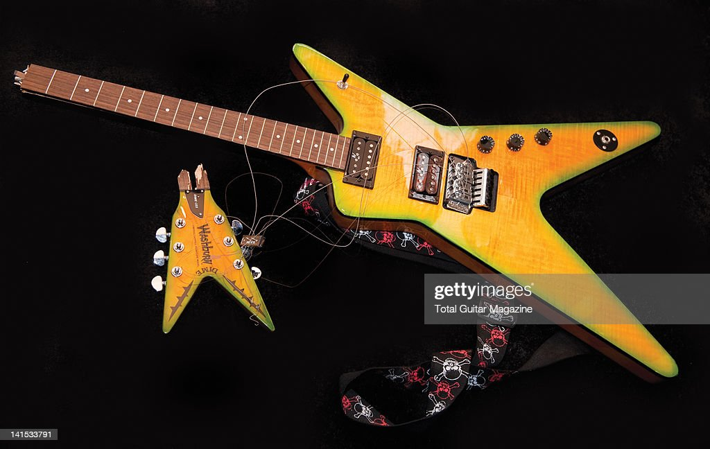 a washburn dimebag darrell signature electric guitar smashed by news photo getty images. Black Bedroom Furniture Sets. Home Design Ideas