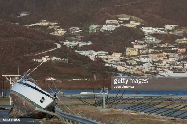 A washed ashored sailboats rest on the neach in Simpson Bay on September 11 2017 in Philipsburg St Maarten The Caribbean island sustained extensive...