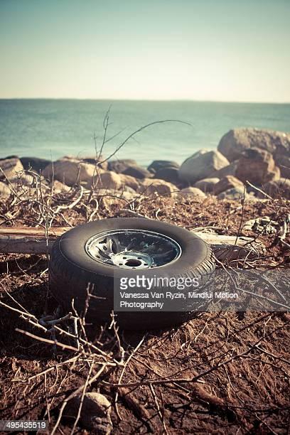 washed up tire - vanessa van ryzin stock-fotos und bilder