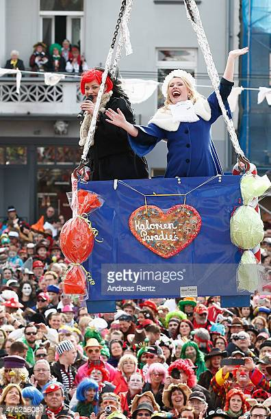 Washer Princess AnnKathrin I floats in a gondola above the crowds during the fat thursday on February 27 2014 in Bonn Germany Beueler Weiberfastnacht...