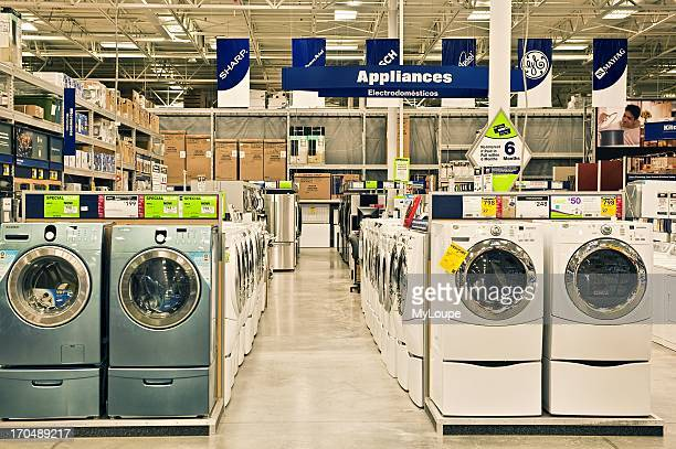 Washers and dryers for sale in a Lowes retail superstore