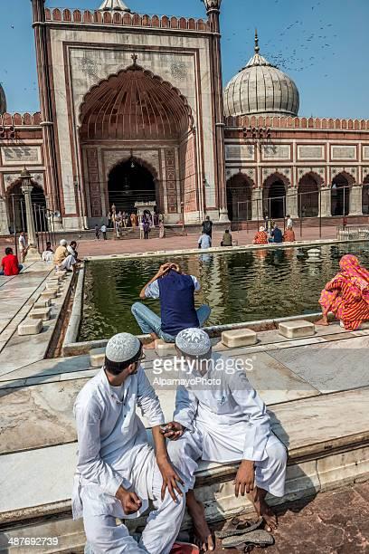 Washing before the prayer at Jama Masjid in Old Delhi