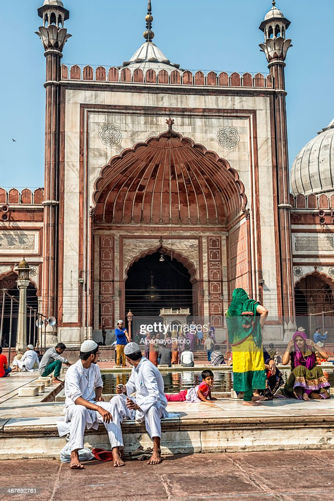Washing before the prayer at Jama Masjid in Old Delhi : Stock Photo
