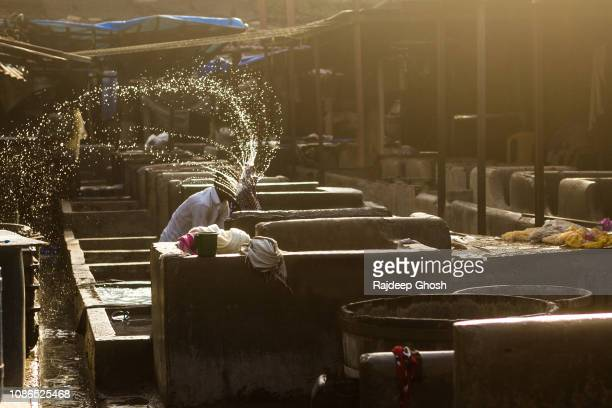 washing clothes at the dhobi ghat