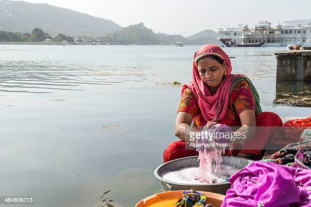 Washing clothes in Lake Pichola, Udaipur